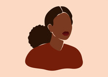 Silhouette Of Black Woman With Curly Hair In A Bun. Confident Young Female With Dark Brown Skin Portrait In Earth Colors. Vector Illustration For International Women's Day And Mother's Day.