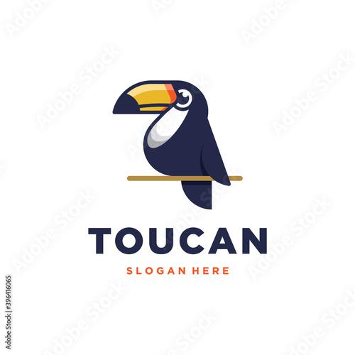 Fototapeta premium Toucan logo. Isolated toucan mascot cartoon vector illustration on light background