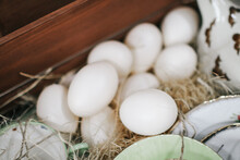 Duck Eggs In A Nest Of Hay. Na...