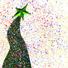 Grinch Green Tree Vector With Bright Green Star Vector And Multicolored Confetti Vector On White Vector Background