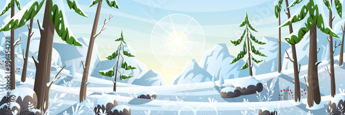 Fototapeta Winter landscape panorama. Vector illustration with separate layers. obraz