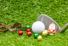 Golf Christmas Quarantine Holiday With Santa Claus And Toilet Tissue Paper On Green Grass