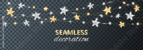 Fototapeta Seamless vector decoration isolated on transparent background. Strings with silver and gold stars. Sparkling glitter holiday border. For Christmas party posters, wedding invitations, birthday cards. obraz