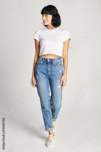 Fotografie, Tablou Women in a sexy white cropped top with design space
