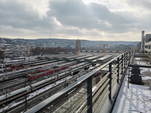 Stuttgart Central Station With High Speed Trains Waiting For Departure