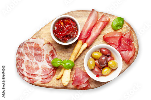 Cheese, meat and olives antipasto Wallpaper Mural