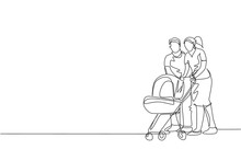 One Single Line Drawing Of Young Happy Mother And Father Pushing Baby Trolley Together Ah Outdoor Park Graphic Vector Illustration. Parenting Education Concept. Modern Continuous Line Draw Design