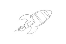 One Single Line Drawing Of Simple Vintage Rocket Takes Off Into The Outer Space Graphic Vector Illustration. Exploration Cosmos Galactic With Spaceship Concept. Modern Continuous Line Draw Design
