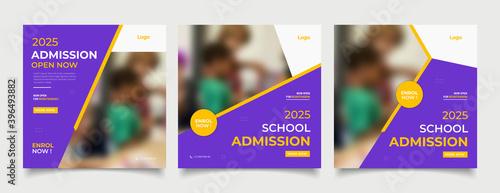 Fototapeta School education admission social media post and web banner template obraz