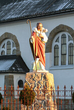MIETUSTWO, POLAND - NOVEMBER 21, 2020: A Figure Of Jesus With A Lamb On His Shoulder In The Church Garden