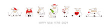Merry Christmas And Happy New Year 2021. Horizontal Banner, Poster, Card. Set Of Vector Illustrations In Cartoon Style Isolated On White. Collection Of Funny Cute Kawaii Characters. Ox, Bull, Cow