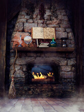 Fantasy Fireplace In A Witch's Cottage With A Book Of Spells, Crystal Ball, Candles, Cauldron, And Broom. 3D Render.