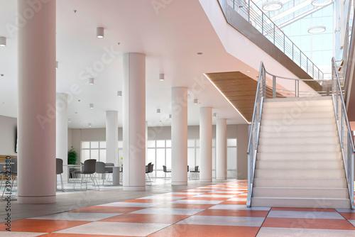 school hall interior 3d illustration