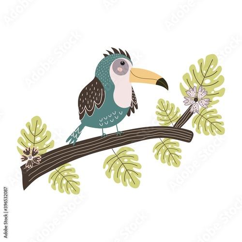 Fototapeta premium Toucan sitting on the branch. Cute tropical bird isolated element