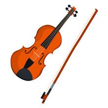 Flat Violin On White Background.