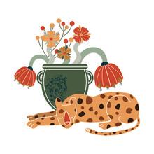 Vector Leopard. Boho Style. Animal For Creating Fashion Prints, Postcard, Wedding Invitations, Banners, Arrangement Illustrations, Books
