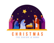 Christmas , The Savior Is Born Banner With Nativity Of Jesus Scene And Three Wise Men In Night Time And Star Vector Design
