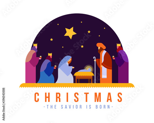 Fototapeta christmas , the savior is born banner with Nativity of Jesus scene and Three wis