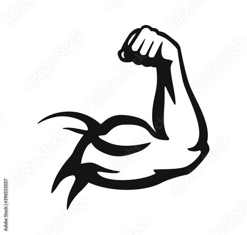 bodybuilder hand emblem in black on white Tapéta, Fotótapéta