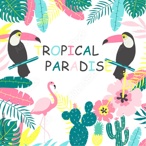 Fototapeta premium Tropical birds and leaves pattern