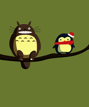 Totoro Character And Christmas Penguin