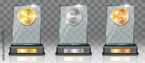 Fototapeta Acrylic glass trophy award mockup set, vector illustration isolated on transparent background. First, second, third place prize plaque templates. Gold, silver and bronze medals, desk winner awards. obraz