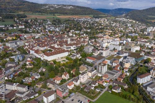 Château de Delémont, vue aérienne Canvas Print