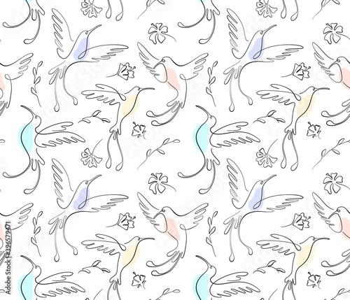 Fotografia, Obraz Black one line seamless pattern on white