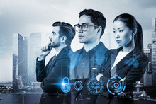 Group Of Business Colleagues As A Part Of Multinational Corporate Team Working On Project To Protect Clients Information At Cybersecurity Compliance Division. IT Lock Icons Over Singapore