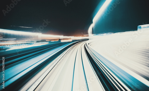 Canvas Abstract high speed technology POV train motion blurred concept from the Yuikamo