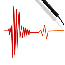 Earthquakes Lines Sign By Seismograph Machine Illustration Background Vector