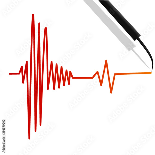 Photo Earthquakes lines sign by seismograph machine illustration background vector