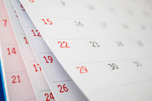 Calendar Page Flipping Sheet Close Up On Office Table Background Business Schedule Planning Appointment Meeting Concept