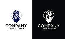 Vector Illustration Of Modern Lion Head And Mountain Logo Icon On Black White Background