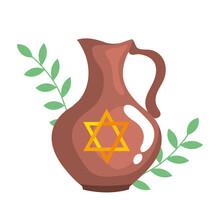 Teapot With Jewish Golden Star Hanukkah Vector Illustration Design