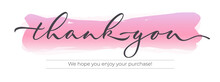 Thank You - Modern Design With Calligraphic Inscription And Watercolor Effect On Background. Vector Typography.