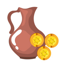 Jewish Coins With Golden Star Hanukkah And Teapot Vector Illustration Design