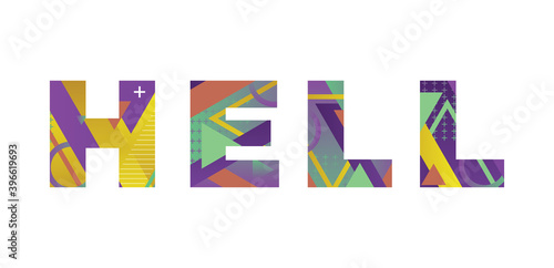Hell Concept Retro Colorful Word Art Illustration Wallpaper Mural