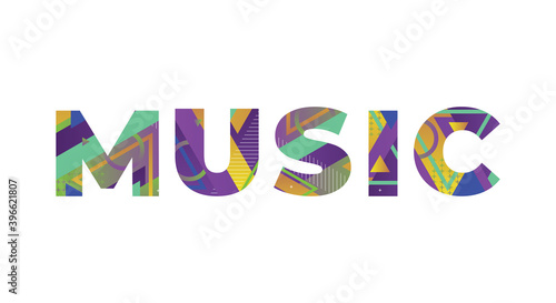 Canvas Music Concept Retro Colorful Word Art Illustration