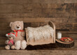 Newborn digital backdrop, rustic Christmas theme, with Teddy bear, milk and cookies for Santa, and brown backdrop.