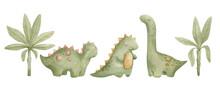 Watercolor Illustration Set With Cute Dino Toys For Kids. Dinosaurs, Tyrannosaurus, Brachiosaurus,  Trees, Palms. Nursery Design Elements. Hand Drawn Animals. Baby Home Decor