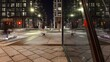 Vehicles On The Road At Night In Barcode Project, Downtown Oslo, Norway - slow zooming shot, time lapse