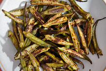 Close Up Of Fried Okra On Plate