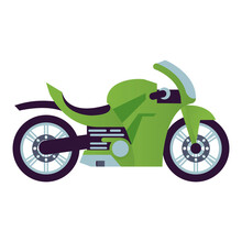 Green Race Motorcycle Style Vehicle Icon