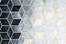 Abstract Blue Cubic Patterned Background