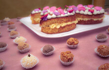 Cake And Little Candys In Table