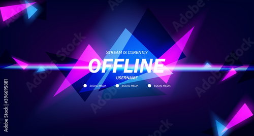 modern twitch background screensaver offline stream gaming background with neon Fototapeta