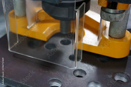 Fotografie, Obraz An acrylic cover safety guard in the metal machine in industry plant