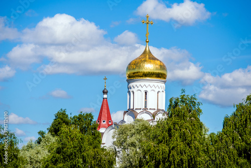 The dome of the Orthodox Church surrounded by among the green trees Fototapet