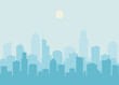 City skyline vector illustration. Urban landscape. Daytime cityscape in flat style.